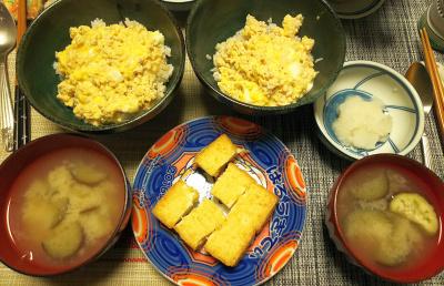 DSC_1809_0305夜-鶏そぼろ親子丼、ナス味噌汁、厚揚げ焼、大根おろし_400.jpg