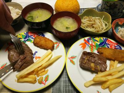 DSC_1884_0307夜-ビーフステーキ、さんまフライ、もやしソテー白菜味噌汁、雑穀ごはん_400.jpg