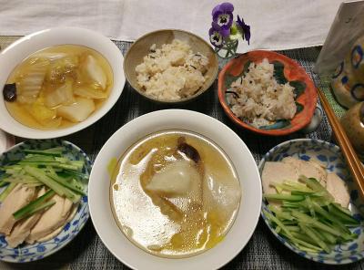 DSC_0082_0314夜-スープ水餃子、蒸し鶏きゅうり、雑穀ごはん_400.jpg