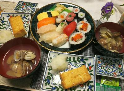 DSC_0171_0316夜-握り寿司、海鮮巻きずし、アサリの潮汁、厚揚げ焼、大根おろし_400.jpg