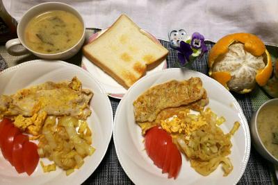 DSC_0193_0319夜-ポークピカタ、トマト、味噌汁、トースト、夏ミカン_400.jpg