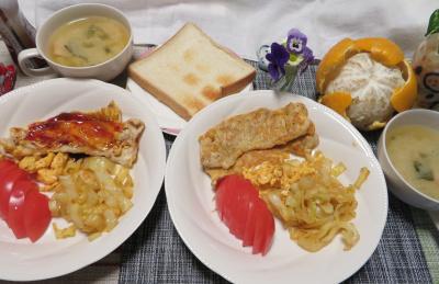 IMG_0938_0319ポークピカタ、トマト、キャベツ、味噌汁、トースト、夏ミカン_400.jpg