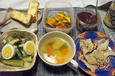 R0017720_0321夜-ポークソテー、ゆで卵きゅうり、しいたけ味噌、かぼちゃ肉そぼろ、野菜スープ、トースト_400.jpg