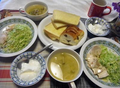R0017763_0328昼-蒸し鶏、キャベツ、スープ、ぶどうぱん、トースト、ヨーグルト_400.jpg