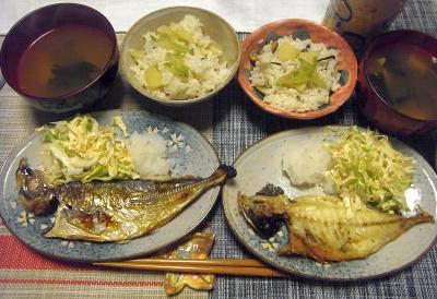 R0017919_0414夜-アジの干物、大根おろし、キャベツサラダ、筍ご飯、わかめスープ_400.jpg