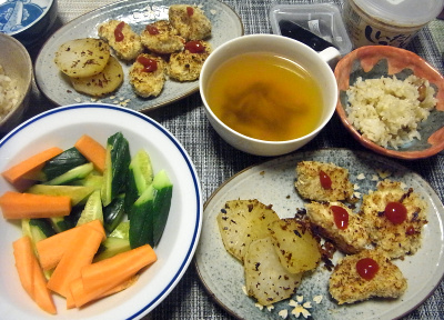 R0017998_0427夜-チキンのパン粉焼き、大根ソテー、人参と胡瓜スティック、スープ、大豆縄文ご飯_400.jpg