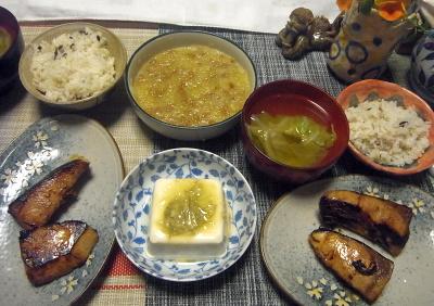 R0018191_0517夜-ブリの照焼き、ミョウガ味噌冷奴、大根おろし納豆、雑穀ごはん、キャベツのスープ_400.jpg