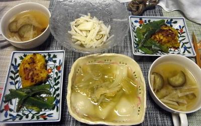 R0018219_0522夜-水餃子、カレーポークソテー、ナス味噌汁、大根サラダ_400.jpg