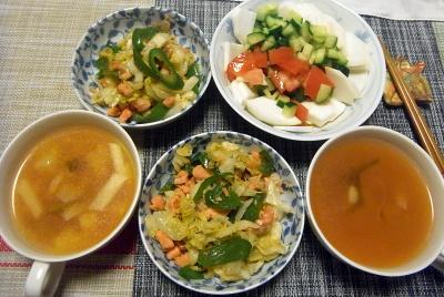 R0018395_0608夜-鮭の身ほぐしキャベツとピーマンと炒める、蕪とトマトときゅうりサラダ、蕪の茎スープ_400.jpg