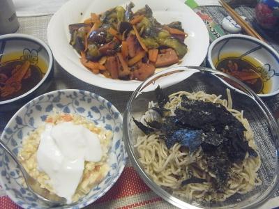 R0018585_0709昼-流水麺蕎麦、海苔、コールスローサラダヨーグルト、茄子とソーセージ炒め_400.jpg