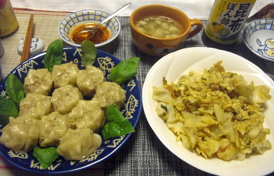 R0018722_0715夜-シュウマイ、キャベツ炒め、スープ_400.jpg