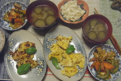 R0018789_0725夜-ゴーヤNo12のチャンプルー、ポークカツレット、茄子味噌汁、雑穀ごはん_400.jpg