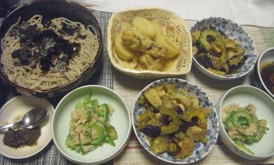 R0018818_0728夜-ゴーヤと茄子のチャンプルー、鶏とジャガイモ煮込み、ゴーヤポテトサラダ、蕎麦_400.jpg