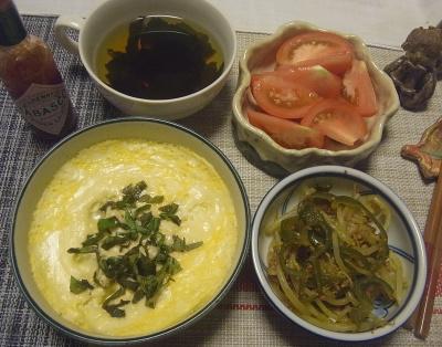 R0018851_0801夜-豆腐卵チーズスフレ、もやしとピーマンのミートソース炒め、トマト、わかめスープ_400.jpg