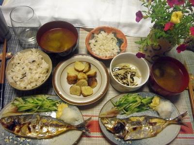 R0018936_0810夜-釣った鯵の塩焼き、焼鳥つくね、大根昆布和え、スープ、雑穀ごはん_400.jpg