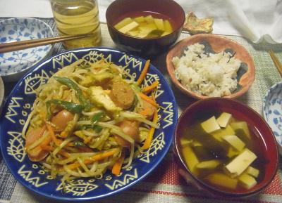 R0018972_0815夜-もやしとカレー風味ポークカツレット炒め、豆腐のお吸い物、雑穀ごはん_400.jpg