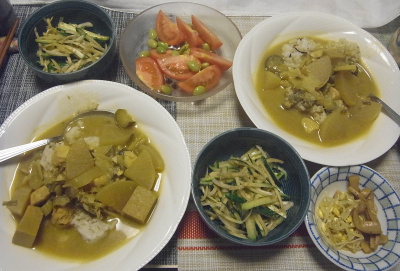 R0018998_0818大根タイ風カレー、きゅうり胡麻和え、シナチク、トマト枝豆サラダ_400.jpg