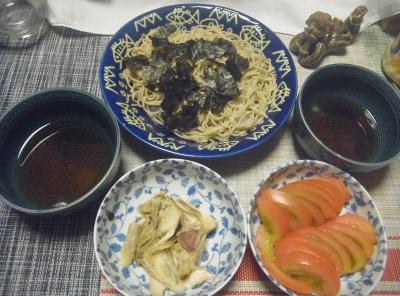 R0018989_0817夜-海苔のせ蕎麦、メロウのカマ焼きミョウガあえ、トマト_400.jpg