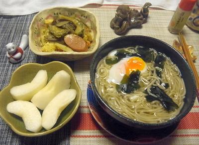 R0019030_0822夜-ゴーヤチャンプルーNo18、温泉卵の温流水麺、梨_400.jpg