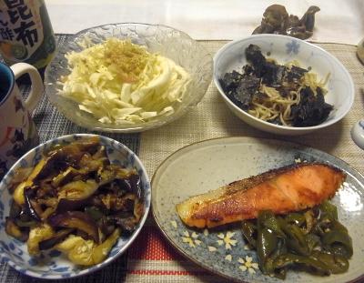 R0019048_0825夜-鮭焼きピーマン、お揚げとナス炒め、キャベツサラダ、流水麺海苔_400.jpg