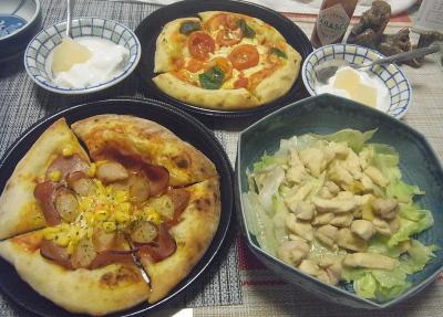 R0019083_0831昼-ピザ2種、チキンサラダ、梨コンポートのヨーグルト_400.jpg