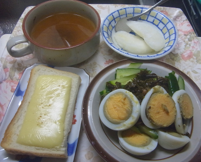 R0019180_0912昼-ゆで卵、きゅうり、チーズトースト、スープ、冷凍梨_400.jpg