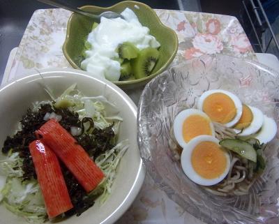 R0019259_0921昼・キッチン-ゆで卵流水麺蕎麦、カニカマ茶葉佃煮サラダ、キーウィヨーグルト_400.jpg