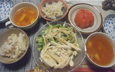 R0019378_0924夜-棒々鶏、トマト、豆腐のスープ、雑穀ごはん_400.jpg