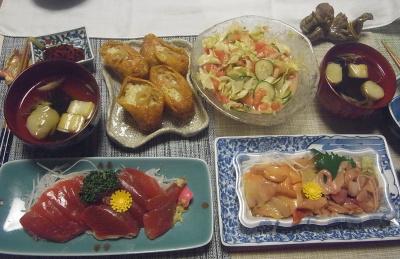 R0019407_0928夜-マグロ刺身、赤貝刺し身、五目いなり寿司、コールスロー風サラダ、麩とミョウガのお吸い物_400.jpg