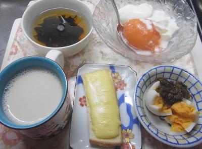 R0019419_0930昼-チーズトースト、ゆで卵、茶葉佃煮、マンゴープリンヨーグルト、わかめスープ、豆乳_400.jpg