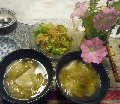 R0019512_1009夜-ゴーヤNo36サラダ、キャベツスープ餃子_400.jpg