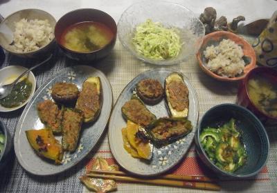 R0019629_1021夜-ゴーヤNo37鰹節かけ、ピーマンなす椎茸かぼちゃ肉詰め、キャベツのわさび昆布和え、めかぶ、味噌汁、雑穀ごはん_400.jpg