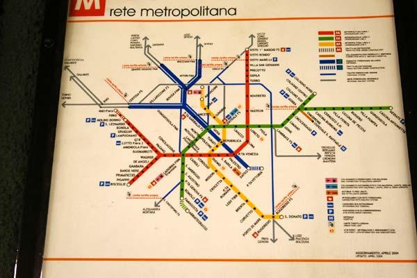 ミラノ地下鉄路線図