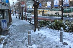 雪の原宿駅