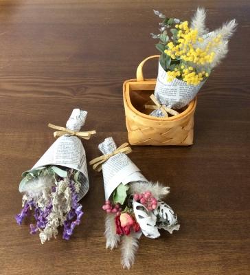 プティ ブーケ ドライフラワー 花束 黄色 紫 赤 バラ ペッパーベリー シロタエギク チガヤ アメジストセージ サントリナ ミモザ ユーカリ