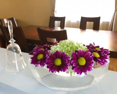 テーブル アレンジメント 花 紫陽花 菊