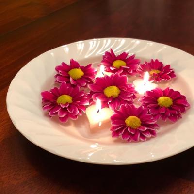 mum 菊 濃桃 フローティングキャンドル candle 夜