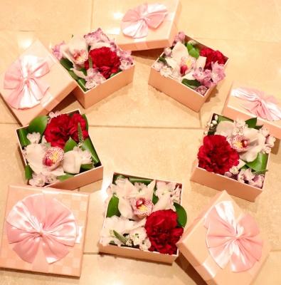 バレンタイン フラワーボックス 赤 ピンク Valentines Day flower box pink red