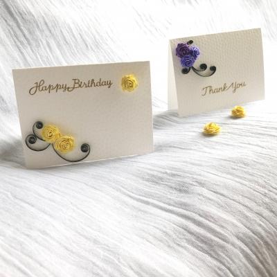 ペーパークイリング バラ 花 グリーティングカード サンキューカード バースデーカード paper quilling rose flower greeting card thank you birthday