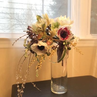 ブーケ ワイヤリング エレガント ニューヨーク ボタニカルガーデン フローラルデザイン クラス bouquet wiring cascade elegant new york botanical garden floral design class