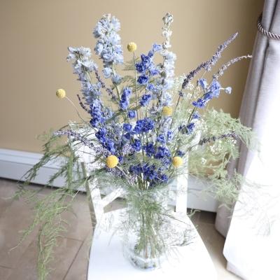 ドライフラワー アレンジメント ブルー系 デルフィニウム dried flowers arrangement blue color garden fondly