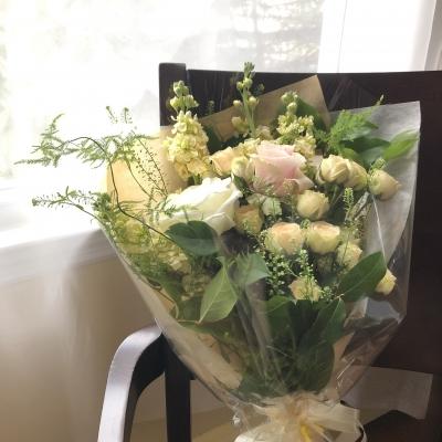花束 優しい パステルカラー ブーケ 送別会 ホワイト系 スプリングカラー bouquet spring color gentle white farewell party