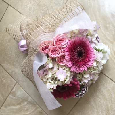 花束 女性 レディ ピンク お祝い 資格 ランチ bouquet lady pink elegant certificate lunch garden fondly