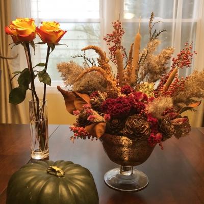 秋 フラワーアレンジメント ハロウィン ドライフラワー fall flower arrangement dried flower flowers Halloween pumpkin orange color garden fondly