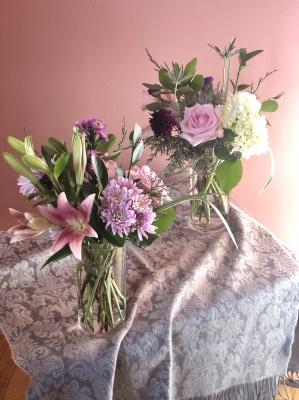 フラワーアレンジ ピンク 百合 バラ アメリカ ニュージャージー州 flower arrangements pink lily rose garden fondly