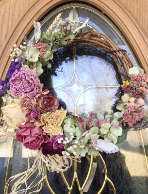 ドライフラワー リース レッスン サロン 教室 バラ ピンク バレンタインデー アメリカ ニュージャージー州 dried flowers wreath lesson how to make rose us nj florist garden fondly