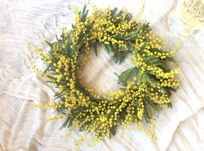ミモザ リース フレッシュ ドライフラワー 春の香り レッスン アメリカ ニュージャージー パラマス mimosa wreath lesson fresh dried flowers handmade class Paramus New Jersey Garden Fondly