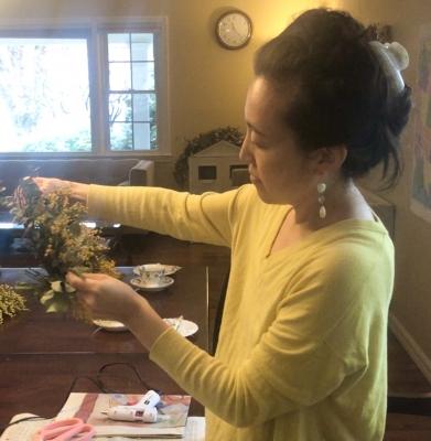 ミモザリース レッスン ドライフラワー アメリカ ニュージャージー mimosa wreath lesson nj us garden fondly