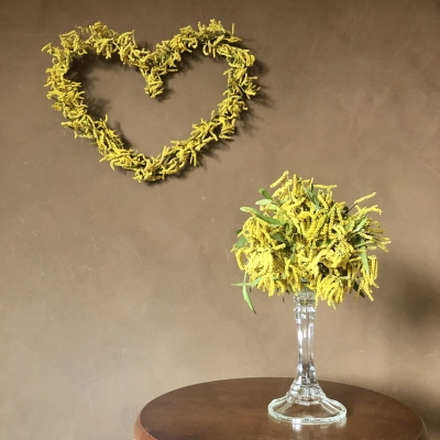 ミモザリース アレンジ キャンドルスタンド レッスン オーダー ドライフラワー アメリカ ニュージャージー mimosa wreath candle stand lesson class workshop order nj us garden fondly