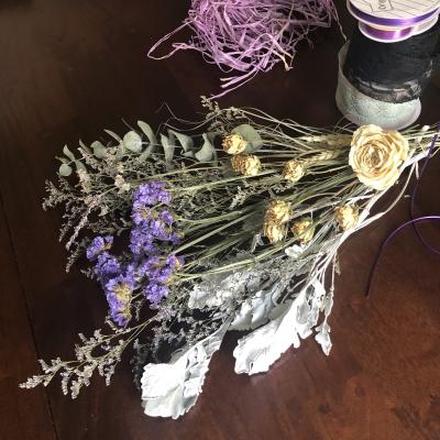 スワッグ デザイン ドライフラワー パープル swag design dried flowers purple  garden fondly